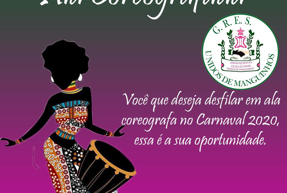UNIDOS DE MANGUINHOS RECRUTA COMPONENTES PARA ALA COREOGRAFADA