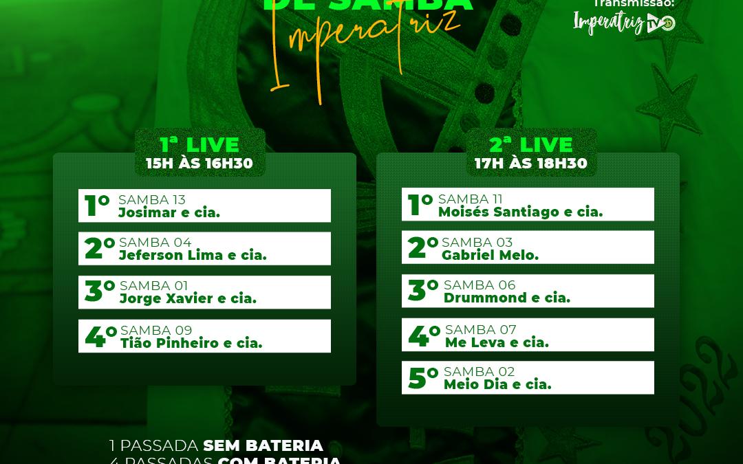 IMPERATRIZ LEOPOLDINENSE DEFINE A ORDEM DE APRESENTAÇÃO DOS SAMBAS PARA 0 DIA 1 DE AGOSTO