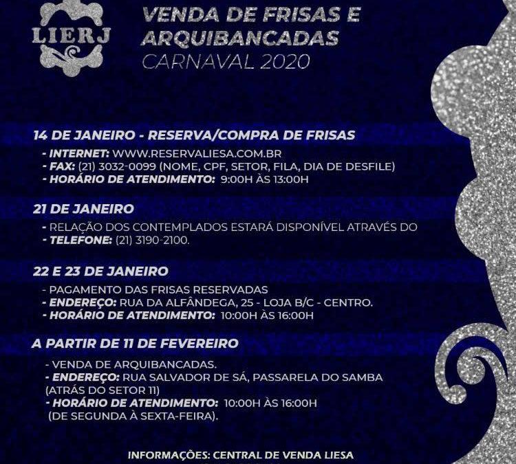 RESERVA DE FRISAS PARA DESFILES DA SÉRIE A DO CARNAVAL 2020 COMEÇA NA TERÇA-FEIRA
