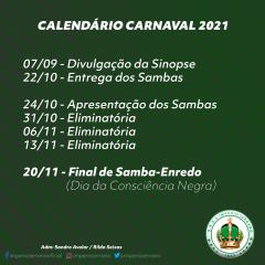 CALENDÁRIO DE DISPUTA SAMBA DE ENREDO IMPÉRIO SERRANO