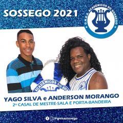 YAGO SILVA FORMARÁ PARA COM ANDERSON MORANGO COMO SEGUNDO MESTRE-SALA E PORTA-BANDEIRA DO SOSSEGO